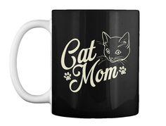 Cat Mom   Women's T Shirt Black Mug Front