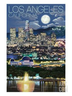 Los Angeles, California - Los Angeles at Night Print by Lantern Press at Art.com