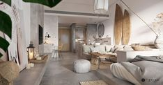 Un mini loft en tons gris - Home Page Mini Loft, Modern House Design, Modern Interior Design, Chic Living Room, Living Room Decor, Appartement Design Studio, Small Studio Apartment Design, Futuristisches Design, Design Ideas