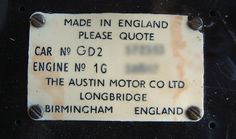 Austin A40 Sports - Identification - Austin plaque in the glove box