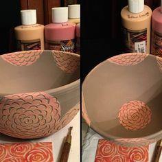 Slow decorating . . . underglaze and sgraffito blossoms. #canadianceramics #ceramics #bowl #sgraffito #underglaze