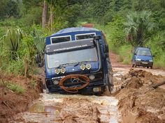 Our overland truck Aminah driving through the mud in the Fouta Djalon highlands of Guinea, West Africa - October 2015 Ambulance, Off Road Rv, Overland Truck, West Africa, Highlands, Camper Van, Buses, Roads, Mud