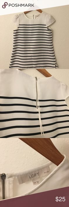 Striped Loft blouse in XXS petite This is a beautiful blouse that has only been worn once to a bridal appointment.  It is made of great quality fabric. It is in size XXS petite but can fit an XS from other stores.  This comes from a pet free, smoke free home. LOFT Tops Blouses