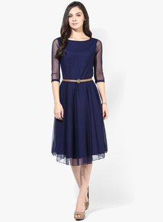 Buy MIAMINX Navy Blue Colored Solid Skater Dress for Women Online India, Best Prices, Reviews | MI863WA74KAZINDFAS
