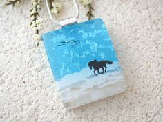 Horse Necklace Dichroic Necklace Horse on Beach by ccvalenzo