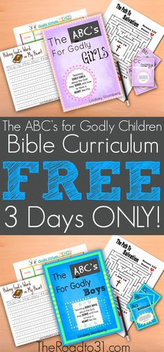 FREE for 3 DAYS ONLY! Get The ABC's for Godly Children Bundled Curriculum set for ages 4-10. Teach children about the God they serve and how to have a heart like his!