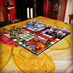 """""""TMNT VS POKEMON Ludo/parcheesi board game made together with the talented @operledittemarie More pictures at: www.facebook.com/m.lundemannn…"""""""