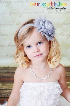 [Flowergirls] Gray Flower Headband - Gray Jumbo Chiffon Rose Stretchy Gray Headband or Hair Clip - The Emma - Vintage Inspired - Wedding Flower Girl. $9.50, via Etsy.