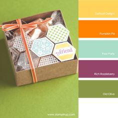 Stampin' Up! Color Combo: Daffodil Delight, Pumpkin Pie, Pool Party, Rich Razzleberry, Old Olive #stampinupcolorcombos