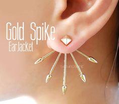 Gold Spike Ear Jacket Front Back Earrings Double Side Unique Earring Rivet Edgy