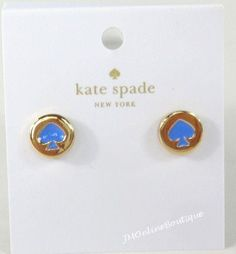 Kate Spade O0RU1342 Womens Spot the Spade Blue Gold Tone Stud Earrings #KateSpade #Stud