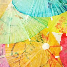 Umbrella Paper Pink Green Orange Blue Turquoise by LTphotographs, $6.00 #pcfteam
