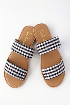 Kick back and enjoy your new purchase; the Time to Chill Black Gingham Slide Sandals! These simple vegan leather slides are lightly cushioned for comfort. Women's Shoes, New Shoes, Me Too Shoes, Shoe Boots, Golf Shoes, Dance Shoes, Cute Sandals, Slide Sandals, Flat Sandals