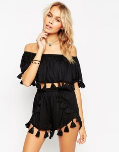 4a81b31cdf7f ASOS COLLECTION ASOS Fringed Tassle Bandeau Beach Crop Top Co-ord #black  #tassel