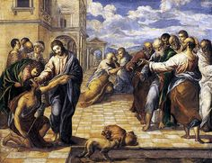 Christ Healing the Blind, ca. 1570. El Greco's pictures best match the account of the episode offered in John 9:1-41, when Christ encounters a blind beggar in the street just outside of the Temple in Jerusalem. In all three paintings El Greco collapsed various episodes into one composition, which requires an understanding of the entire story in order to read the composition properly.