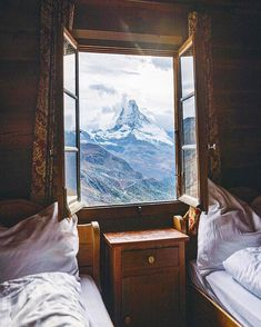Mountain View - Zermatt Switzerland via - Architecture and Home Decor - Bedroom - Bathroom - Kitchen And Living Room Interior Design Decorating Ideas - Zermatt, Winter Poster, Through The Window, Window View, Open Window, Cozy Room, Adventure Is Out There, Oh The Places You'll Go, Travel Inspiration