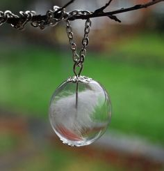 Angel Feather Necklace 03 Glass Globe White by NaturalPrettyThings, $27.00