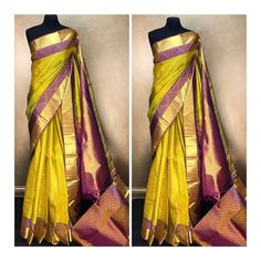 Lime green kanjeevaram silk saree with a purple and gold double border
