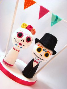 Day of the Dead Wedding Cake Topper by Pegged on Etsy, $50.00