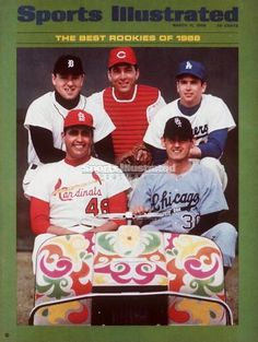 MARCH 03: March 11, 1968 Sports Illustrated Cover, Baseball: MLB Rookies, (L-R) Top Row: Detroit Tigers Don Pepper (32), Cincinnati Reds Johnny Bench (5), and Los Angeles Dodgers Alan Foster (44), (L-R) Bottom Row: St, Louis Cardinals Mike Torrez (48) and Chicago White Sox Cisco Carlos (30) sitting in golf cart during spring training, FL 3/3/1968