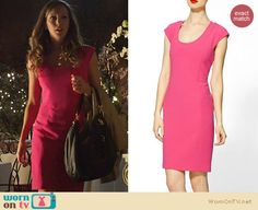 Laurel's pink cap sleeved dress on Arrow. Outfit Details: http://wornontv.net/21586 #Arrow