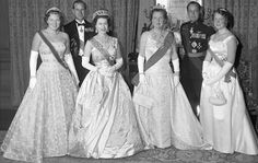 Queen Elizabeth II and Prince Philip on a state visit in The Netherlands in 1958. From left: Princess Beatrix (Now Queen Beatrix), Prince Philip, Queen Elizabeth II, Queen Juliana of The Netherlands, Prince Bernhard and Princess Irene.