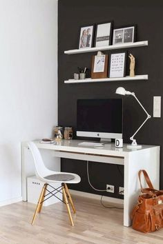 Modern Home Office Design is certainly important for your home. Whether you pick the Professional Office Decorating Ideas or Home Office Design Modern, you will make the best Office Interior Design Ideas for your own life. Small Home Offices, Home Office Space, Home Office Design, Home Office Decor, Office Designs, Office Desk, Masculine Home Offices, Corner Office, Bureau Design