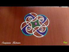 Small And Easy Kambi Kolam. Rangoli Designs Simple Diwali, Rangoli Designs Flower, Rangoli Patterns, Rangoli Designs Diwali, Rangoli Designs Images, Rangoli Designs With Dots, Kolam Rangoli, Rangoli With Dots, Mehndi Images