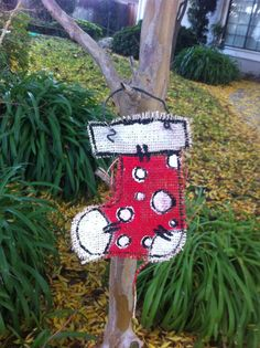 Burlap Santa Stocking Ornament by CocoLimeDesigns on Etsy, $5.00
