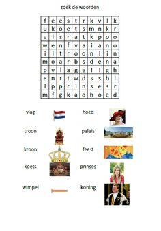 Woordzoeker rond Koningsdag My Children, Spelling, Holland, Dutch, Homeschool, Crafts For Kids, Printables, Teaching, My Love