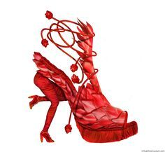 Red | virtualshoemuseum.com - The heel is held up by a strong woman who appears to be running.  This is wild and wonderful.