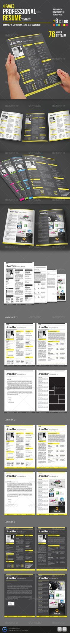 Portfolios 4 Pages Professional Resume Template  #GraphicRiver         4 Pages Professional Resume Template is a simple way to impress your interviewers, Very easy to use and customise.  read the instruction