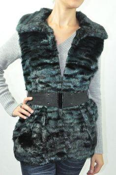 #Alberto Makali #Faux Fur vest in a teal/black animal print $139