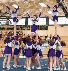 John Bapst Memorial High School Cheerleaders Heel Stretch Pyramid