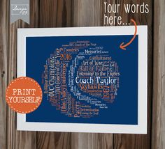 Need a Coach's Gift? A last minute Thank You gift? Looking for a fun and unique Personalized Gift for the special trainer, captain or coach in your life? Look no further than my 'Names on a Tennis Ball' Word Art print! Words shown in bright shades of yellow with a rubber band in white and the Captains name standing out in white, it can be done in any color combination to match your tennis club colors or home decor. This design holds up to 30 word combinations, such as team names, club names…