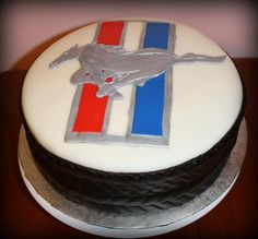 mustang cakes   Mustang emblem with tire cake ~ my next birthday cake !! :o)