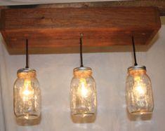 5 Glas Pendelleuchte Einmachglas Kronleuchter von IndustrialRewind