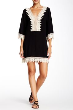WEST KEI | Crochet Trim V-Neck Tunic | Nordstrom Rack