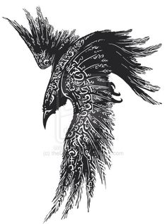 This would make an amazing raven tattoo. (not tattoo, but raven with wings painted with glyphs in a painting as a familiar):