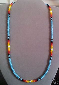 NEW-Lg-Bl-Turquoise-Sunburst-Beaded-Mens-Womens-Necklace-Native-American-Made