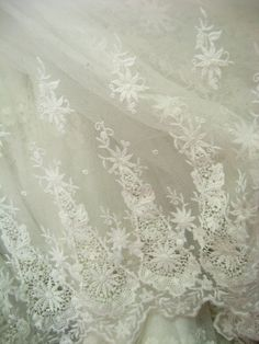 Off White Wedding Lace Fabric  Retro Embroidered Lace by lacetime, $25.99