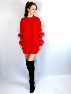 Get it at www.pinkblackheart.com Red Christmas Jumper, Christmas Jumpers, Pink Christmas, Red Jumper, Red Colour, Colour Board, Online Fashion Stores, Black Heart, Jacket Dress