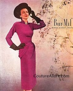 The 1947 ad is for the fabric, Bur-Mil (Burlington Mills) rayon faille crepe