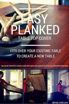 easy planked diy tabletop for your existing table