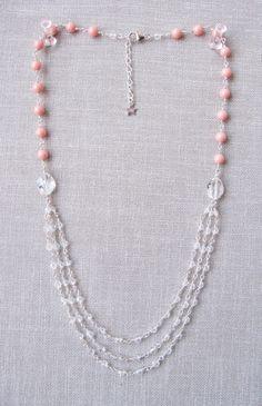Swarovski crystal & coral pearl deco necklace by trinkjewelry