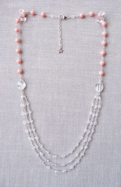 Swarovski crystal & coral pearl deco necklace by trinkjewelry
