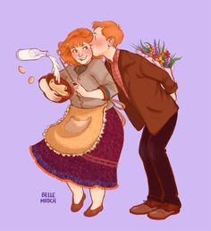 Molly and Arthur early in their marriage. Their love for each other is the absolute cutest. (Arthur couldn't afford to buy flowers, so he picked them.)
