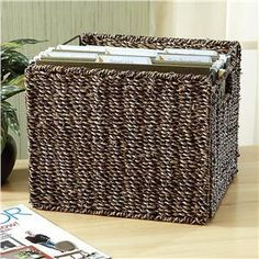 Folding Collapsable Wicker Basket Hanging File Folder Holder Organizer Cabinet | eBay