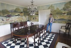 Lisa Curry Mair of Canvasworks Designs with her finished mural at a home in Vermont.