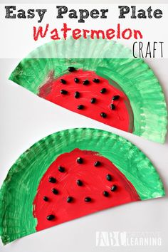 Fun and Easy Paper Plate Watermelon Craft perfect for the letter W or just for fun! - abccreativelearning.com